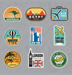 Travel vintage sticker summer vacation labels for vector