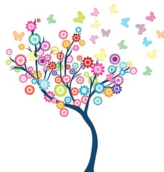 Tree with flowers and butterflies vector image