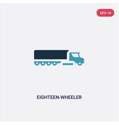Two color eighteen-wheeler icon from vector