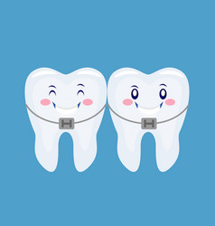 Two funny cartoon thooths with the braces system vector