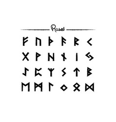 viking runes elder futhark alphabet set icons vector image
