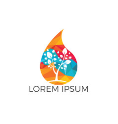 Water drop with tree icon logo design vector