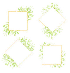 watercolor green leaves gold glitter wreath frame vector image