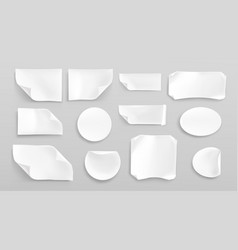 White paper stickers or crumpled glued patches set vector