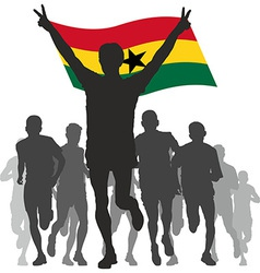Winner with the Ghana flag at the finish vector