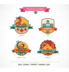 World Cities labels - Beijing Istanbul Honolulu vector image