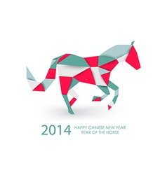 Chinese new year of the Horse abstract triangle vector image