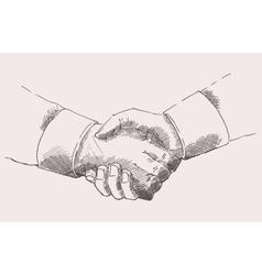 Drawing Shake Hands Partnership Sketch vector image vector image