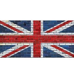 Grunge flag of Great Britain on a brick wall vector image