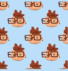 Happy boy head child seamless pattern young male vector
