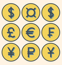 set of icons with different currency symbols with vector image