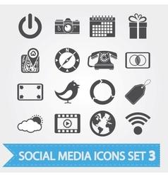 Social media icons set 3 vector image vector image