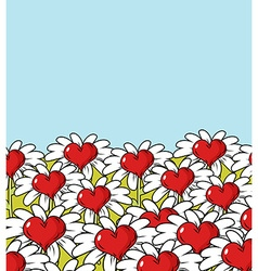 Love flower landscape Chamomile meadow Blue sky vector image