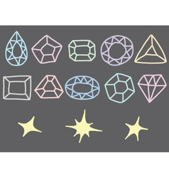 Pastel Drawing of Gem Collection vector image vector image