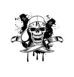 skull in baseball cap and knife vector image vector image