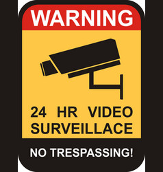 surveillance and cctv camera yellow signs vector image vector image