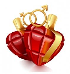 two grenade hearts vector image vector image