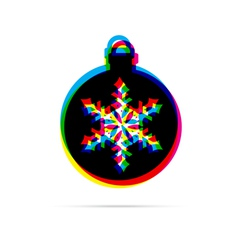 Christmas ball with snowflake flat icon vector image vector image