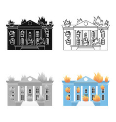 House on fire icon cartoon single silhouette fire vector