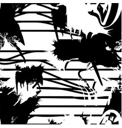 monochrome seamless pattern with ink brush vector image vector image
