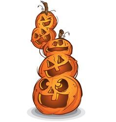 Pile Of Halloween Pumpkin Cartoon Characters vector image vector image