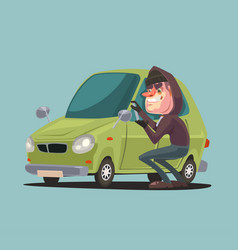 robber man character steals and breaking car door vector image vector image