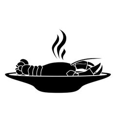Silhouette monochrome dish with hot lobster vector