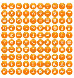 100 joy icons set orange vector image vector image