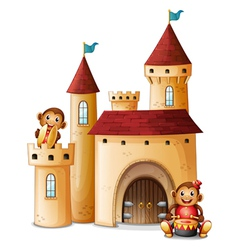 A castle with monkeys vector image vector image