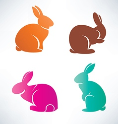 bunny silhouette collection vector image vector image