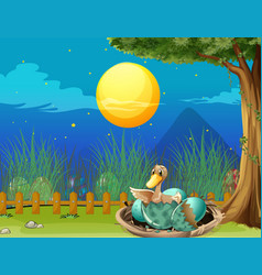 duck hatching egg at night vector image vector image