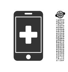 Mobile medicine icon with job bonus vector