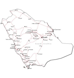 Saudi Arabia Black White Map vector image vector image