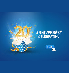20 th years anniversary banner with open burst vector