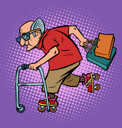 active sports old man with shopping vector image