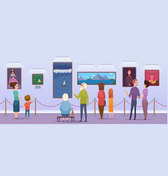art gallery people watching a pictures in museum vector image