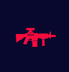 assault rifle with optical sight gun icon vector image