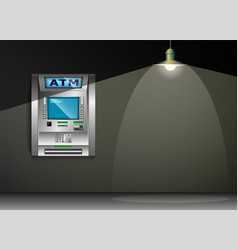 atm - automated teller machine gray wall metal vector image