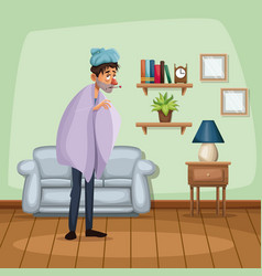 background living room home with cold sickness vector image
