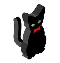 Black Cat isometrics Pet with red bow tie Animal vector image