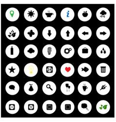 Black universal web icons set on gray vector