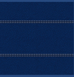 blue leather texture with white stitching vector image