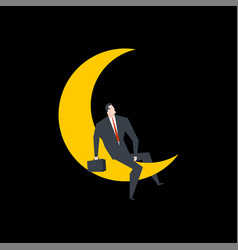 businessman on moon boss is sitting for moon vector image