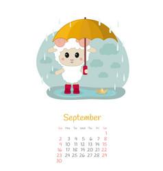 Calendar 2018 months september with sheep vector
