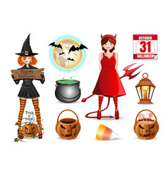 cartoon icons set for halloween vector image