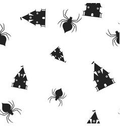 castle spider halloween pattern seamless vector image