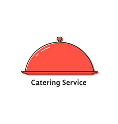 Catering service with red linear dish vector