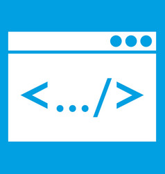 Code window icon white vector