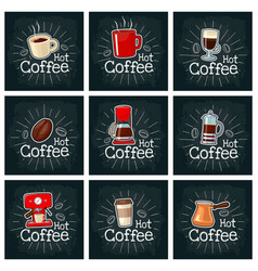 coffee set icon color flat vector image