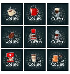 Coffee set icon color flat vector